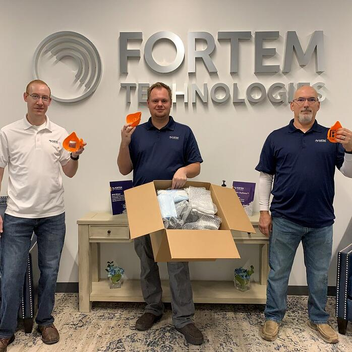 BAMf client Fortem Technologies printed protective masks during the COVID-19 pandemic